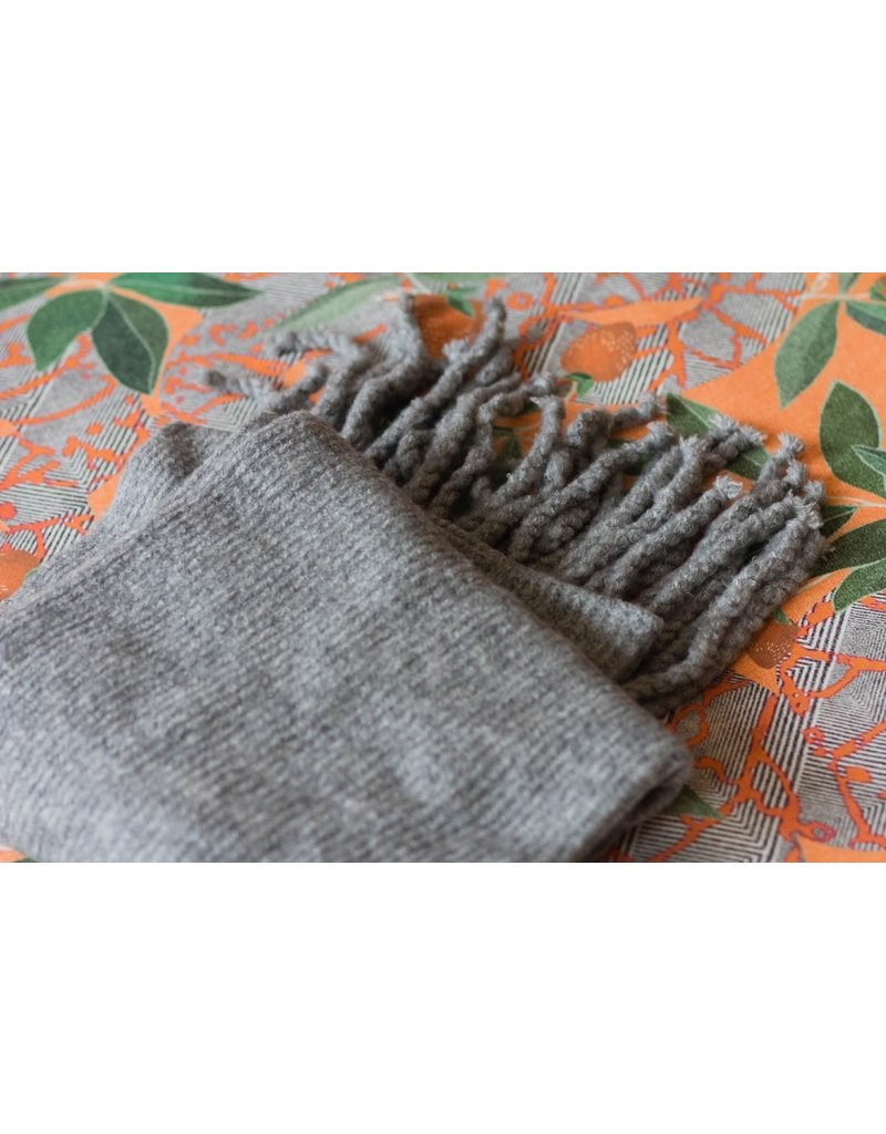 Free People Jaden Grey Ribbed Fringe Blanket Scarf