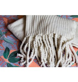 Free People Jaden Ivory Ribbed Fringe Blanket Scarf