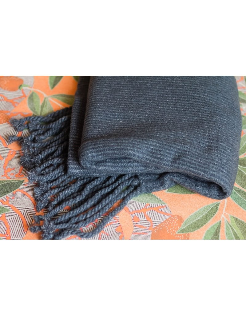 Free People Jaden Navy Ribbed Fringe Blanket Scarf