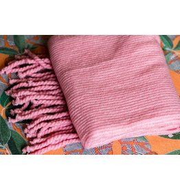 Free People Jaden Pink Ribbed Fringe Blanket Scarf