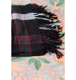 Free People Black Valley Plaid Fringe Scarf