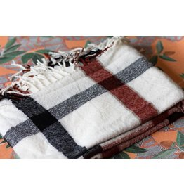 Free People Ivory Valley Plaid Fringe Scarf