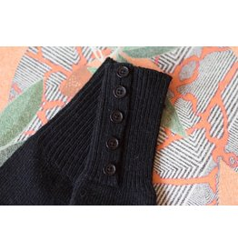 Knit Bonbons Button Cuff Long Glove Black
