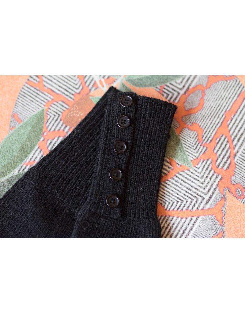 Knit Bonbons Button Cuff Long Glove Black
