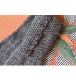 Knit Bonbons Button Cuff Long Glove Grey
