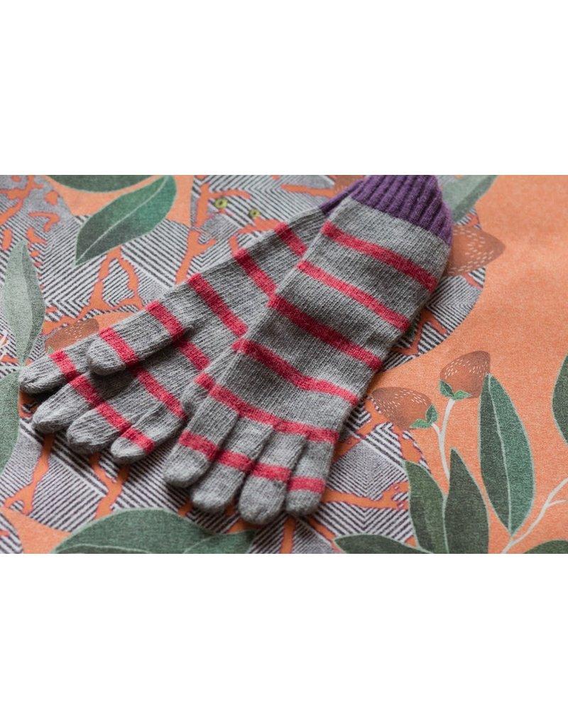 Knit Bonbons Lambswool Stripe Glove Orange Multi