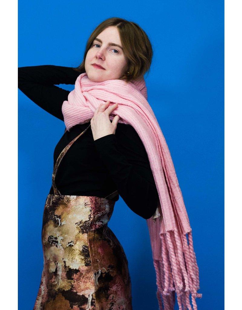 Free People Jaden Pink Ribbed Fringe Blanket Scarf
