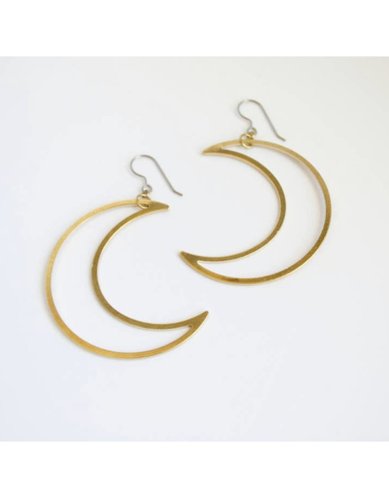 Grey Theory Mill Crescent Moon Dangle Earring