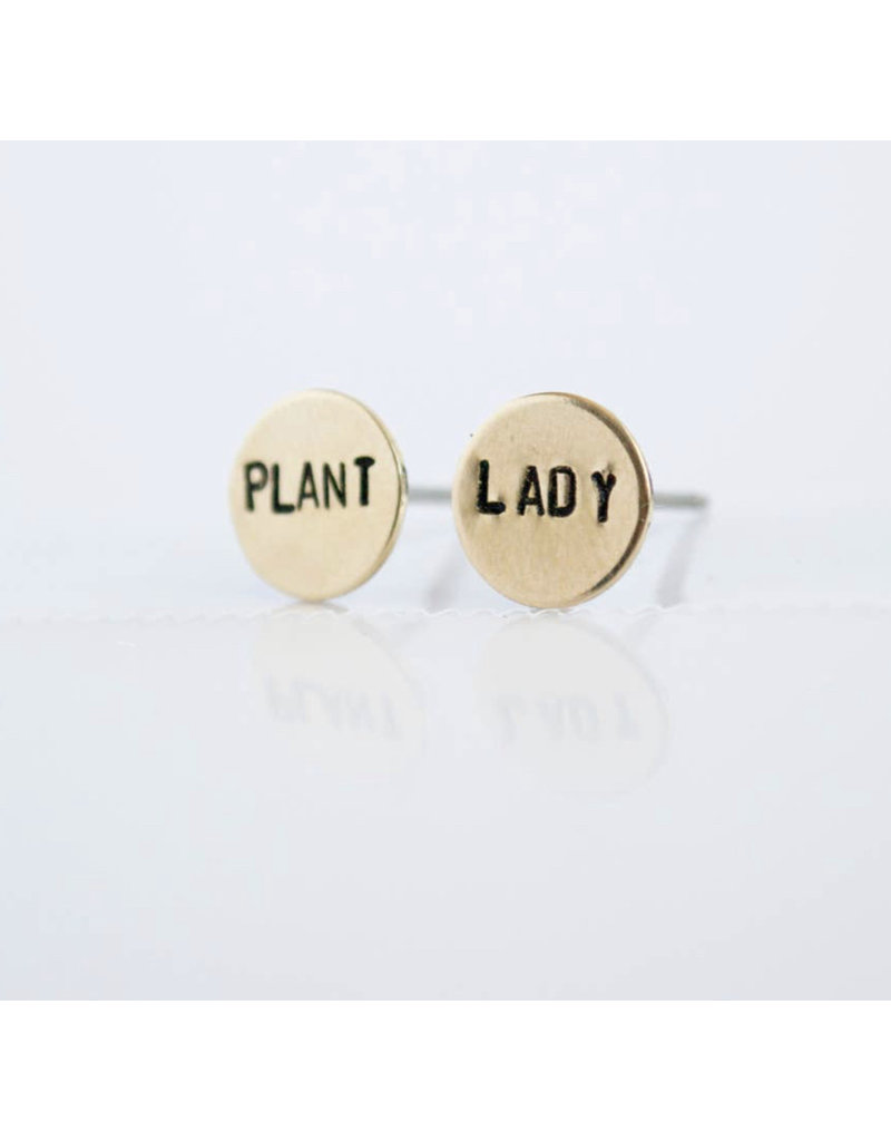 Grey Theory Mill Brass Plant Lady Earring