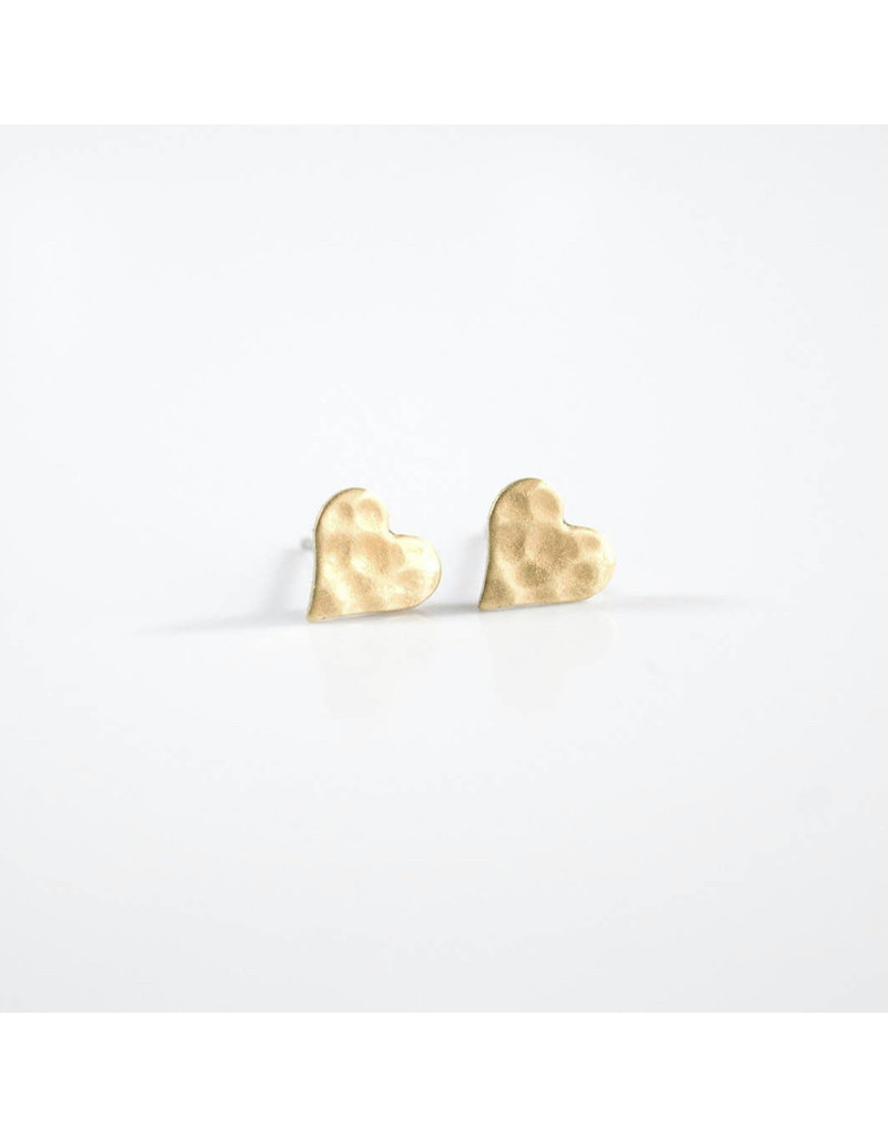 Grey Theory Mill Brass Hammered Heart Earring