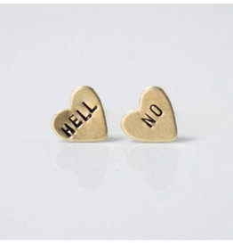 Grey Theory Mill Hell No Heart Earrings
