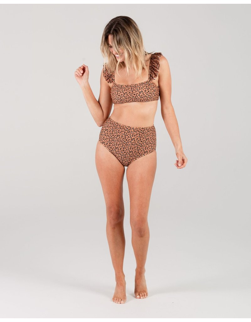 Rylee and Cru Cheetah High-Waist Bikini Bottom