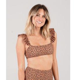 Rylee and Cru Cheetah Ruffle Sleeve Bikini Top
