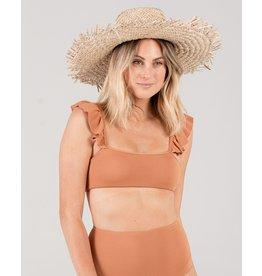 Rylee and Cru Pique Ruffle Bronze Bikini Top