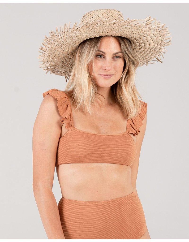 Rylee and Cru Pique High-Waist Bronze Bikini Bottom