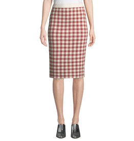 English Factory Endless Love Gingham Knit Pencil Skirt