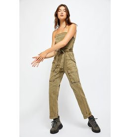 Free People Go West Utility Jumpsuit Moss