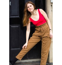 Free People Margate Pleated Brown Trouser