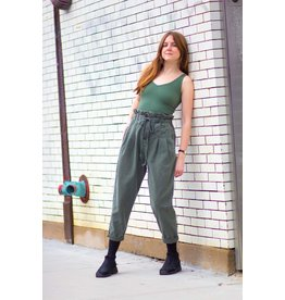 Free People Margate Pleated Trouser Moss