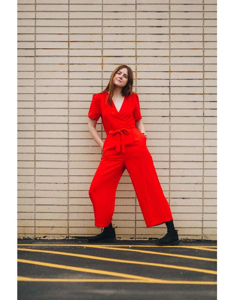 Greylin Jena Linen Lipstick Red Jumpsuit