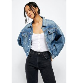 Free People Amelia Slouchy Trucker Dark Denim