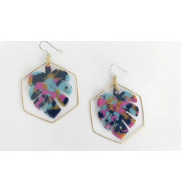 Grey Theory Mill TortoiseShell Monstera Earrings (bright pink/blue)