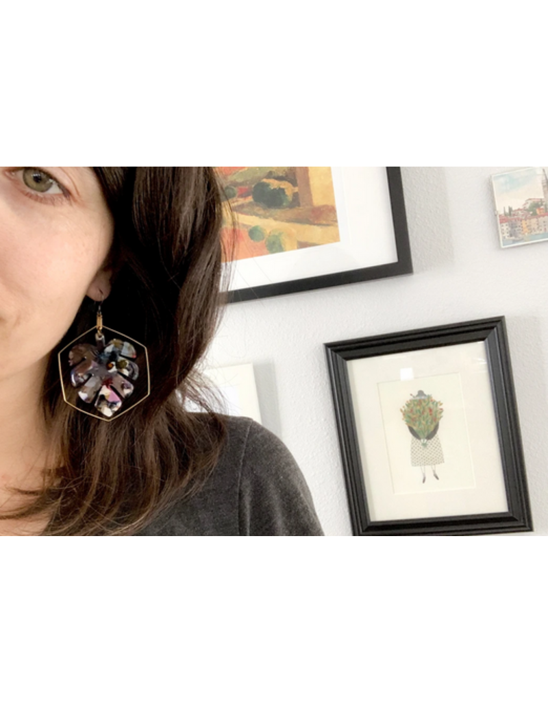 Grey Theory Mill TortoiseShell Monstera Earrings (jewel tones)