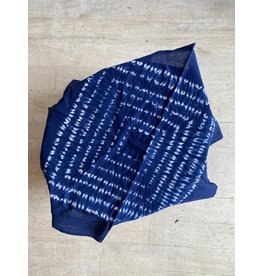"Ink + Alloy Neckerchief Indigo Shibora with tassels 20"" x 20"""