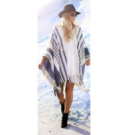 jennifer detrich smith Free People Blue and White Poncho One Size