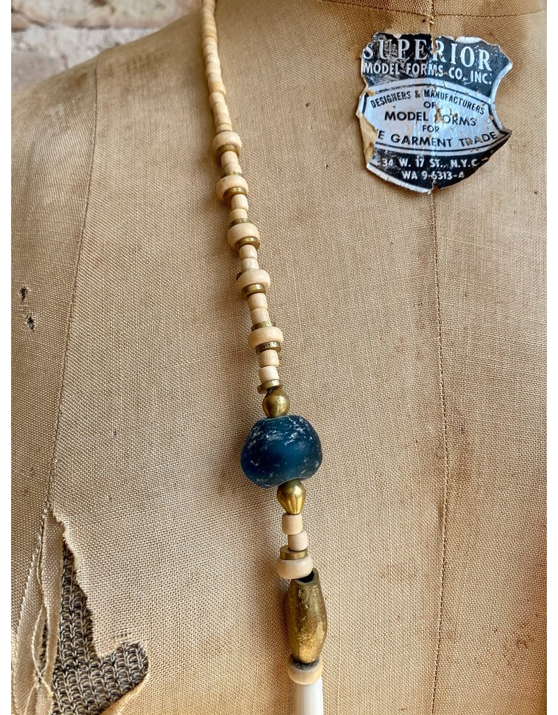 Ink + Alloy Simone Glass, Wood, Brass Necklace