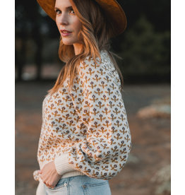 Rylee and Cru Flower Stitch Knit Sweater