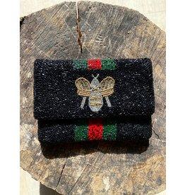 Redefined Hand Beaded Mini Cross Body Black Bee Bag