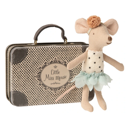 Maileg Little Sister Mouse in a Suitcase Poka Dot Velvet Body