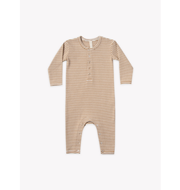 Quincy Mae Ribbed Baby Jumpsuit Walnut Stripe