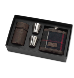 Barbour Barbour Tartan Hip Flask with Stainless Steel Shot Cups Classic Tartan