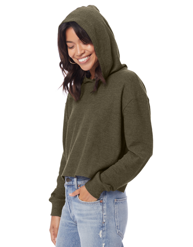 Alternative Apparel Vintage Oregano Thermal Relaxed Cropped Hoodie