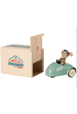 Maileg Blue Mouse Car with Garage
