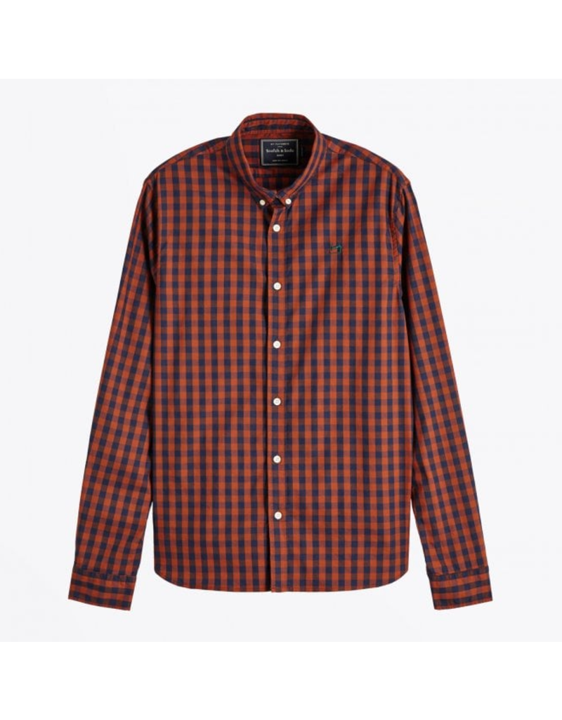 Scotch & Soda Orange GinghamButton Up