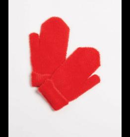 Look By M Red Fuzzy Mitten