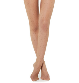 Look By M Tan Tights With Tan Dots