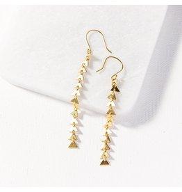 """Ink + Alloy Brass  Triangle Links Earrings 3.75"""""""