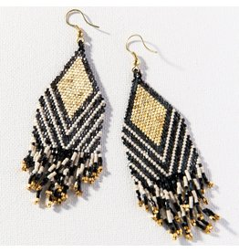 Ink + Alloy Black, Ivory with Gold Earring  Fringe 4""