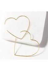 """Ink + Alloy Heart Wire Hoop Earring 2.25"""""""