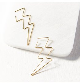 "Ink + Alloy Lightning Bolt Wire Earring 2.25"""