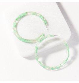 "Ink + Alloy Mint Marbled Hoop Earring 2.5"""