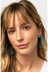 """Ink + Alloy Turquoise Marbled  Hoop Earring 2.5"""""""
