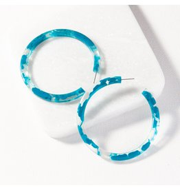 Ink + Alloy Turquoise Marbled  Hoop Earring 2.5""