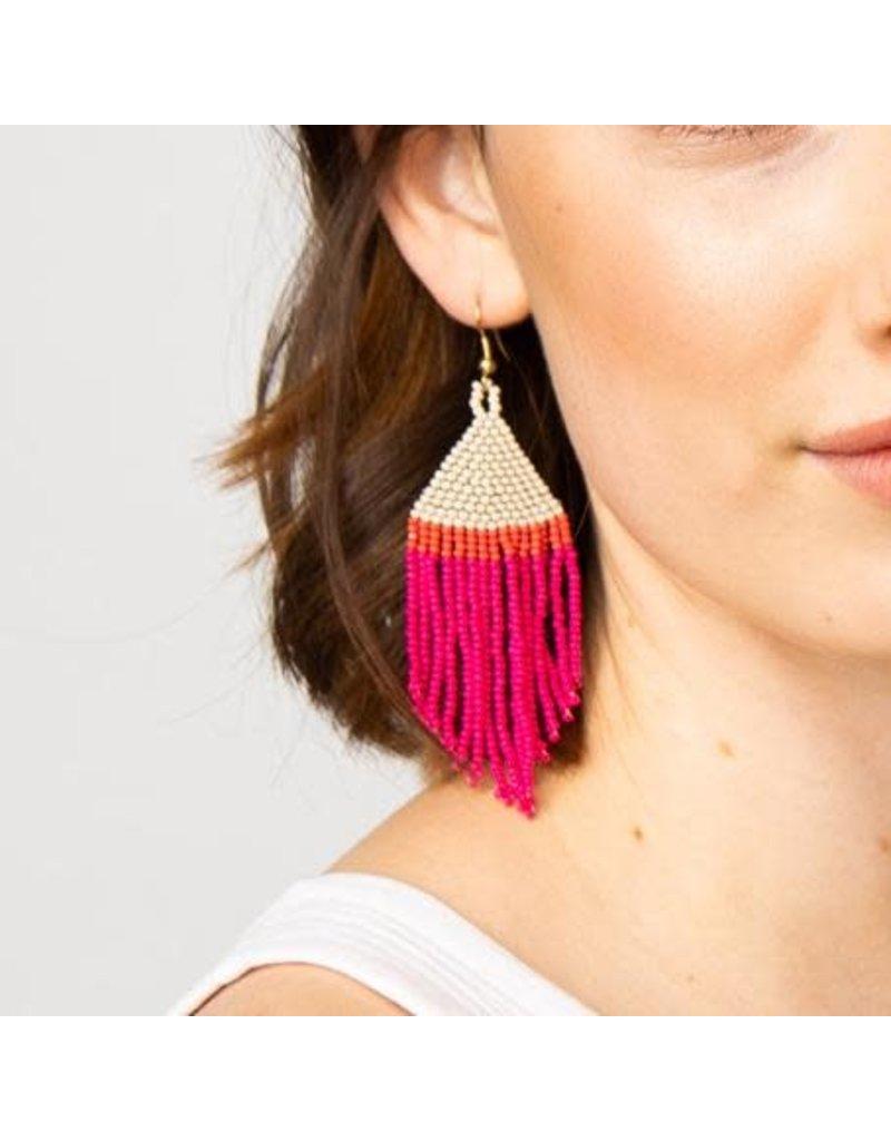 "Ink + Alloy Hot pink, Ivory, Coral Fringe Earring 4"""