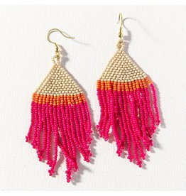 Ink + Alloy Hot pink, Ivory, Coral Fringe Earring 4""