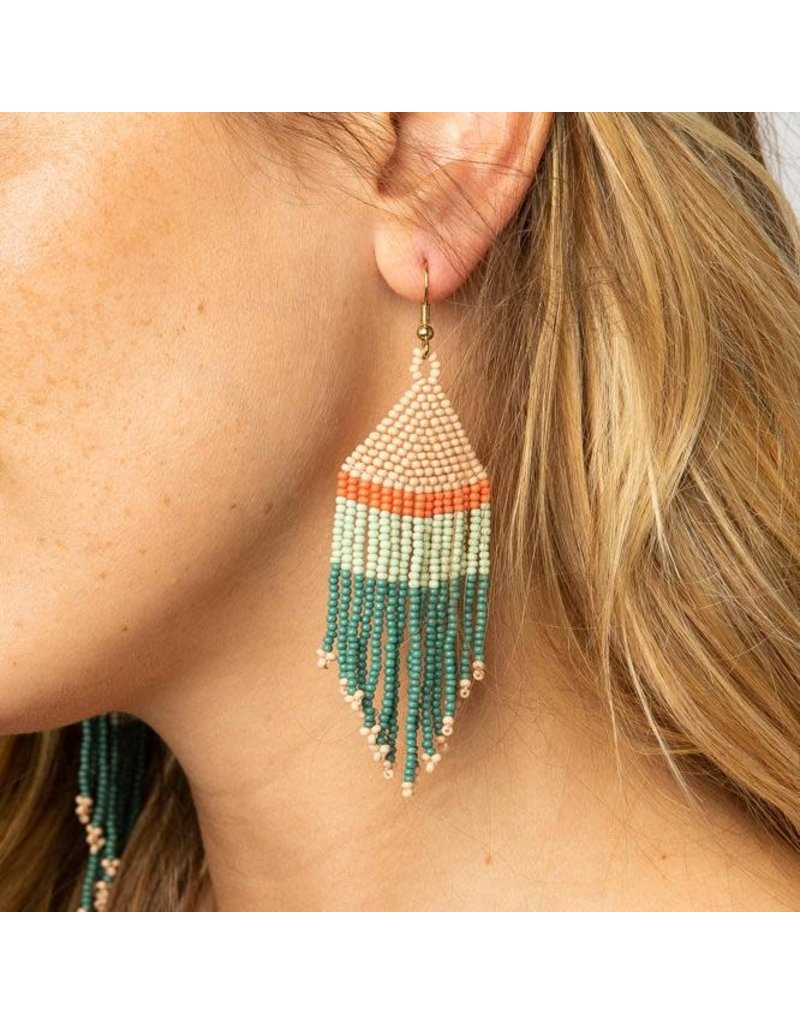 Ink + Alloy Teal, Pink,  Mint, Coral Fringe Earring 4""